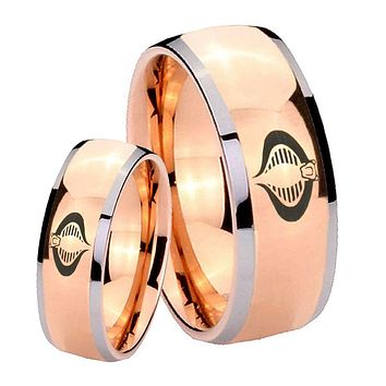 His Hers Rose Gold Dome Cobra Design Two Tone Tungsten Wedding Rings Set