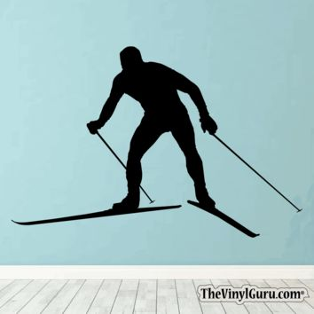 Skiing Wall Decal - Ski Sticker #00018