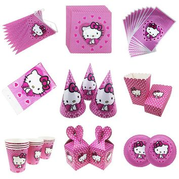 hello kitty  Party Set Tableware Plate Napkins Banner hat Straws Happy Birthday Candy box gift bag Baby Shower Party Decoration