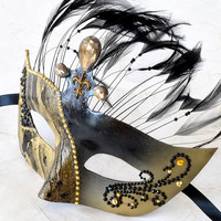 Venetian Mask Gold and Black Feathers -  Masquerade, Mardi Gras, Cosplay, Bridal Mask, Gothic, Halloween