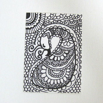 "ACEO Original ATC "" Black and White Mehndi Peacock "" Henna  Marker Drawing"