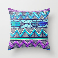 Two Feathers (color version 3) Throw Pillow by Lisa Argyropoulos