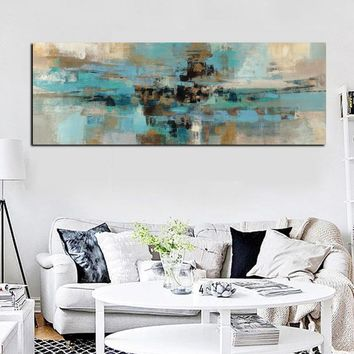 HD Print Canvas Painting Light Blue Landscape Abstract Oil painting on Canvas Wall Art Bedroom Living Room Sofa Home Decoration