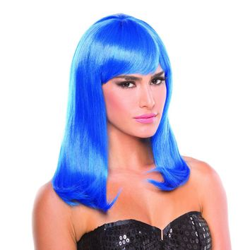 Dark Blue Solid Color Hollywood Bangs Wig