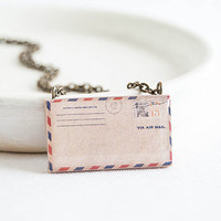 Envelope pendant necklace - Letter miniature jewelry