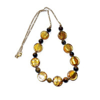 Amber Gold, Brown and Gold Chain Necklace
