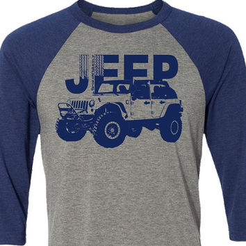 Jeep T-Shirt-4 Wheel Drive-4 door-Baseball Shirt in Heather Grey and Blue