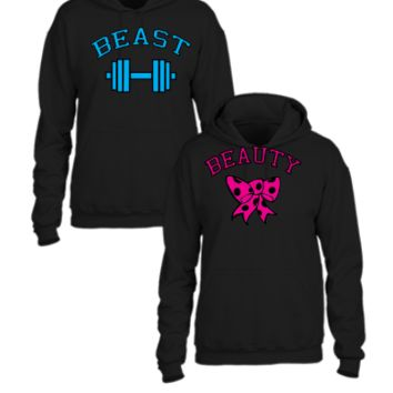 beast and beauty couple matching design - Couple hoodie