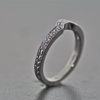 14kt White Gold and Diamond Curved Hand Engraved Wedding Band