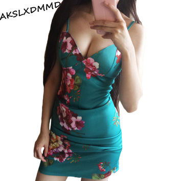 Sexy Dresses Floral Bodycon Dress 2017 New Summer Green Color Women Club V Neck With Chest Pad Print Strap Dress LH712