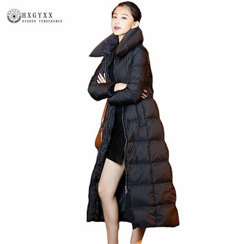 Long Winter Women Down Coat 90% White Duck Down Jacket Goose Feather Parka 2017 Black Warm Zipper Puffer Quilted Outwear OKB166
