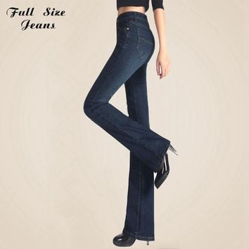 Spring Autumn Slim Fit  Mid Waist Flare Jeans Plus Size Stretch Skinny Jean Bell-Bottom Pants Denim Trousers Xxxl 4Xl 5Xl Xs 6Xl