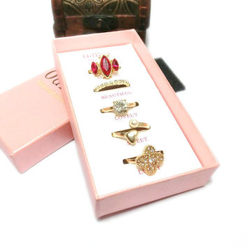 Stylish Shiny New Arrival Gift Jewelry Luxury Box Korean Leaf Rhinestone Ring [7807573761]