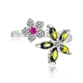 Sterling Silver Rhodium White, Red, & Green Cubic Zirconia Floral Toe Ring