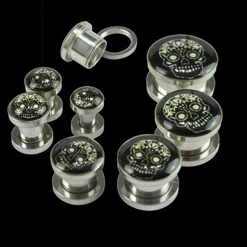 Ear piercing Stainless Steel Ear Stretcher Expander Plugs Epoxy Black Skull 4-14MM Body piercing Jewelry ear Tunnels plugs