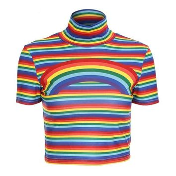 Rainbow Striped Cropped Turtleneck T-Shirt