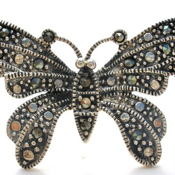 Sterling Silver Butterfly Brooch Pin with Marcasites