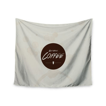 """Juan Paolo """"But First, Coffee"""" Beige Brown Wall Tapestry"""