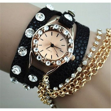 Black Watch Bracelet Rhinestone Super Cool Layered Look In Style