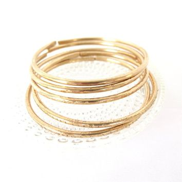 Bronze Bangle Set of 5, Bronze Bohemian Jewelry