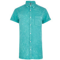 Teal Oxford Short Sleeve Button-Up