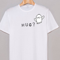 White shirt with graphic heat pressed ghost and writing (hug?) tumblr