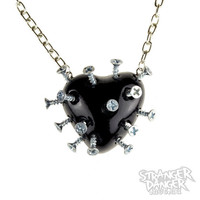 Black Broken Heart Necklace With Screws (goth, jewellery, punk, emo, alternative, industrial, ndie, Rockabilly, Lolita, Cyber)