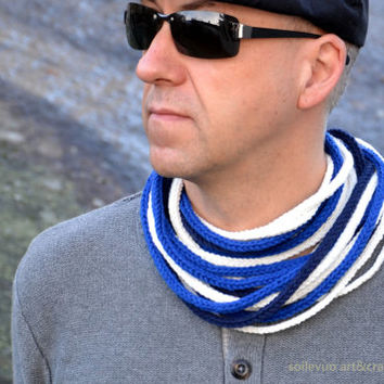 Scarf for men Tube scarf in marine colors Crocheted infinity chunky cowl scarf Multi strand fiber neckwear Bright blue, navy blue and white