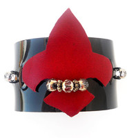 Red Fleur de Lys Patent Leather Cuff