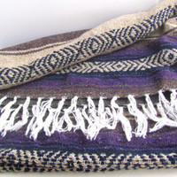Vintage Purple Falsa Mexican Serape Woven Blanket