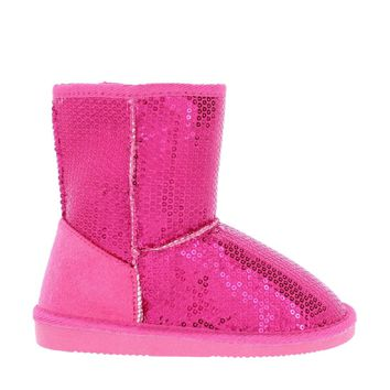 Sequin Kids Snow Boot (FUCHSIA)