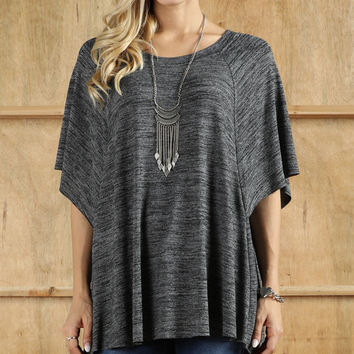 Black Cape-Sleeve Tunic - Plus Too