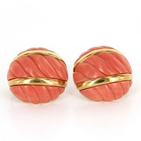 Vintage David Webb 18 Karat Yellow Gold 900 Platinum Coral Dome Clip Earrings Estate Jewelry