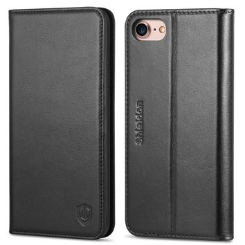 iPhone 8 Case, iPhone 7 Case, SHIELDON iPhone 7 Wallet Case Genuine Leather Premium [Card Holder] [Book Design] Magnetic Closure Stand Flip Protective Cover Case for Apple iPhone 8 / iPhone 7 - Black