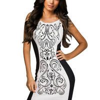 White Totem Print Sleeveless Bodycon Dress