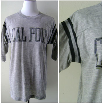 70s CAL POLY jersey shirt vintage heather gray black rayon polyester size L large hipster boho thin soft t shirt 1970s pullover tee t-shirt