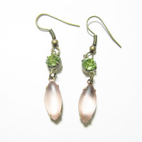 Mint Green and Light Pink Earrings with brass earwire