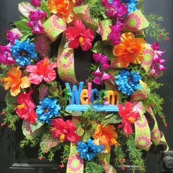 Tropical Wreath, Welcome Wreath, Beach Wreath, Summer Door Wreath, Tropical Wreath Front Door, Tropical Door Wreath, Front Door Wreath