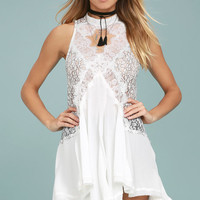 Free People Tell Tale Heart White Lace Tunic