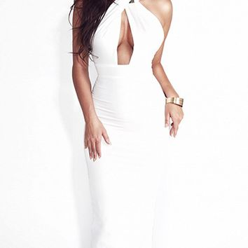 White Choker Neck Cut Out Detail Open Back Dress
