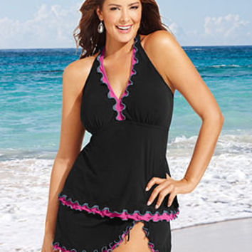 Profile by Gottex Plus Size Swimsuit, Halter Ruffle-Trim Tankini Top & Ruffle Skirted Swim Bottom - Plus Size Swimwear - Plus Sizes - Macy's