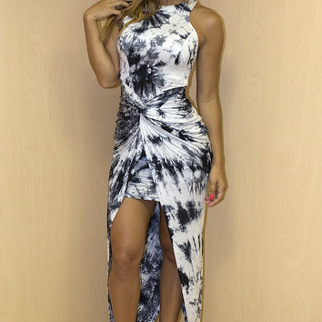 Tie Dye Go With The Flow High Low Dress