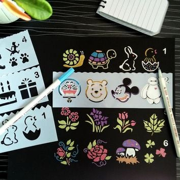 8pcs Beautiful Plant Animal Reusable Stencil Airbrush Painting Art DIY Home Decor Scrapbooking Album Craft