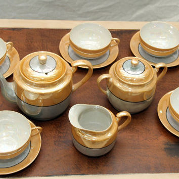 Vintage Japanese Lusterware Tea Set