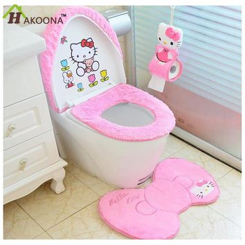 HAKOONA  Pink Kittens  Designs Toilet Seat Cover & Rug  Flannel Bathroom Set  Non Slip Mat Decorations