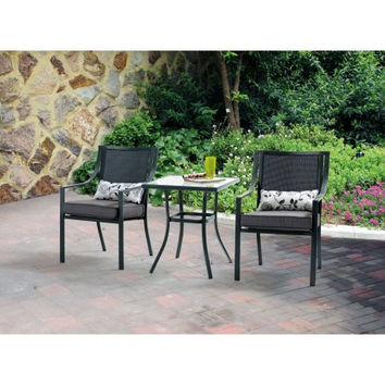 Grey, Gray 3 Piece Bistro Patio Furniture Outdoor Chat Set