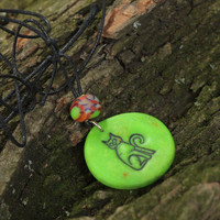 Handmade bright polymer clay pendant Cat unusual accessory on long cord