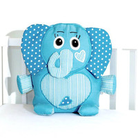Custom Elephant Pillow, Baby Toys,  Stuffed  Elephant, Custom Baby Shower Gift  turquoise