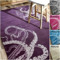 nuLOOM Handmade Octopus Tail Faux Silk / Wool Rug | Overstock.com Shopping - The Best Deals on 7x9 - 10x14 Rugs