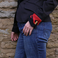 Wrist cuff bracelet ~ Red and Black knit cotton wristlet ~ Unique gift for coworker, welcome back to work present